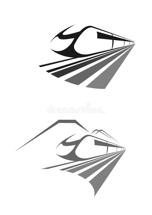 Express train rail transport vector icon, emblem. High speed train icon. Intercity express rail or railway transport. Vector emblem for urban monorail metro stock illustration