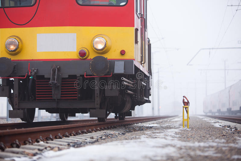 Express train on rails. In the fog stock photo