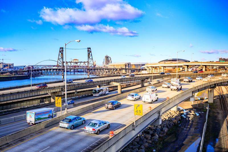 Express way of Portland with Willamette river and Steel Bridge,. Portland, US - Dec 21, 2017 : Express way of Portland with Willamette river and Steel Bridge royalty free stock photography