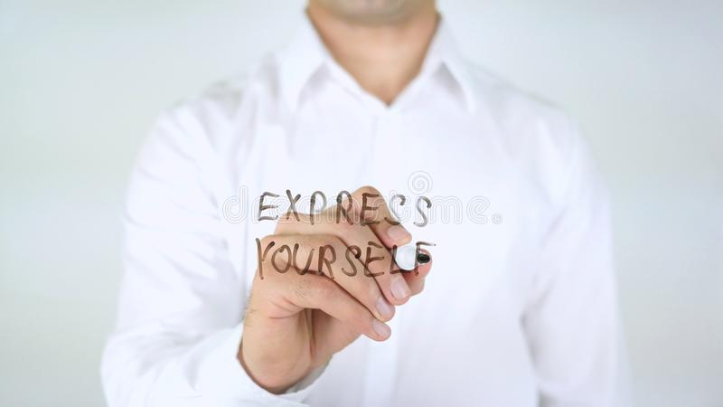 Express Yourself, Man Writing on Glass stock photos