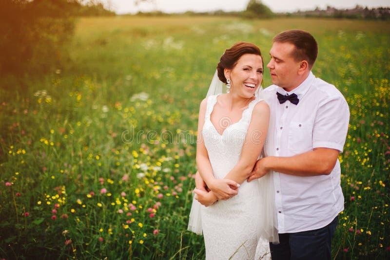 Expressief huwelijkspaar op de weide tijdens openluchtphotosession stock afbeeldingen