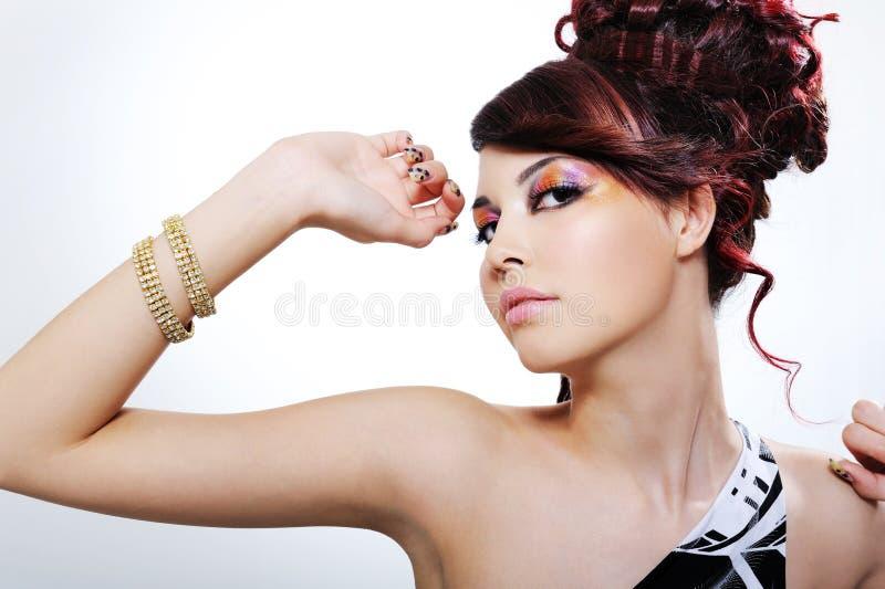Expressief portret van mooi meisje stock afbeelding