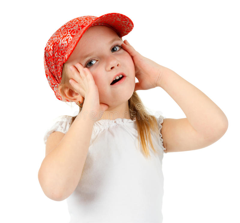 Expressief verrast meisje dat haar gezicht houdt royalty-vrije stock foto's