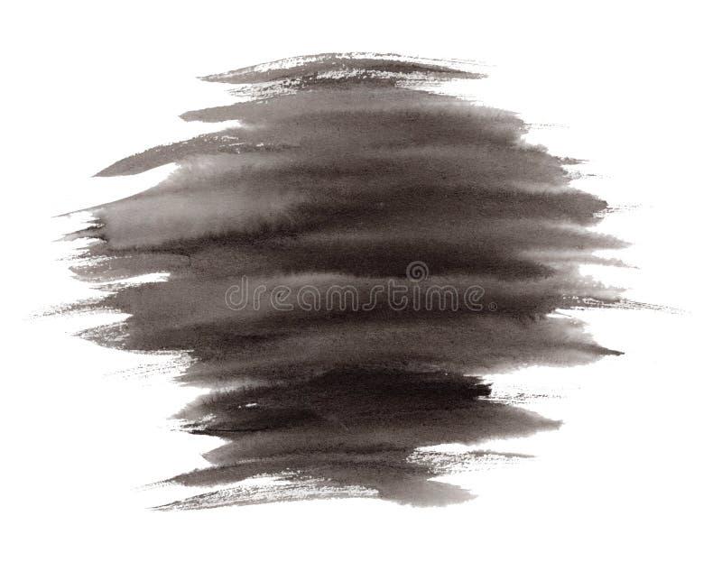 Expressieve gestreepte zwarte inkt of waterverfvlek stock illustratie
