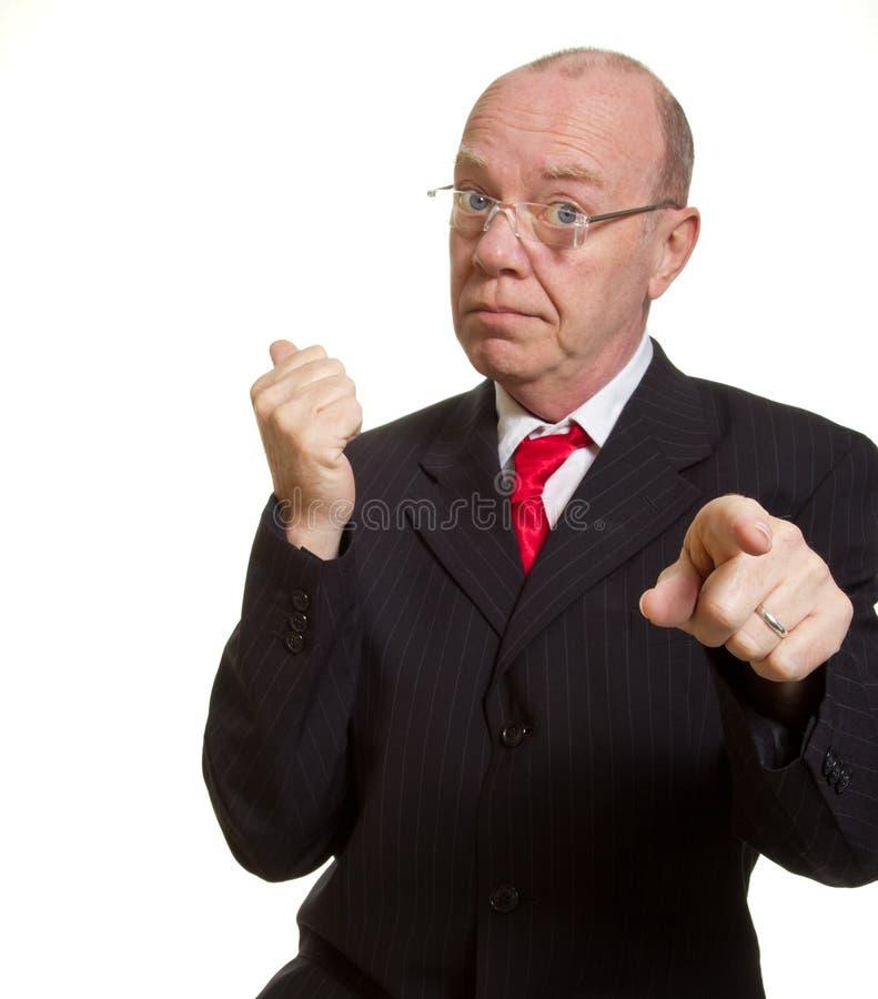 Expressieve hogere zakenman stock foto's