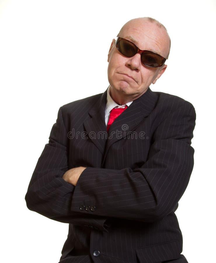 Expressieve hogere zakenman royalty-vrije stock foto