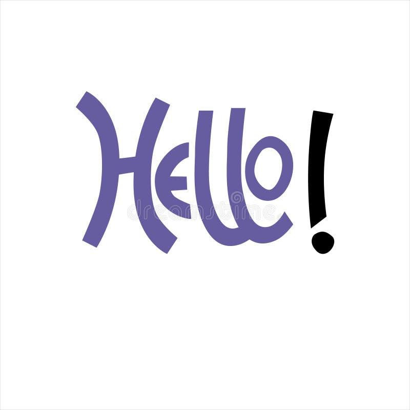 expression élevante Main-en lettres de bonjour dans la couleur bleue pour l'autocollant, carte, T-shirt, bannière, milieu social illustration stock