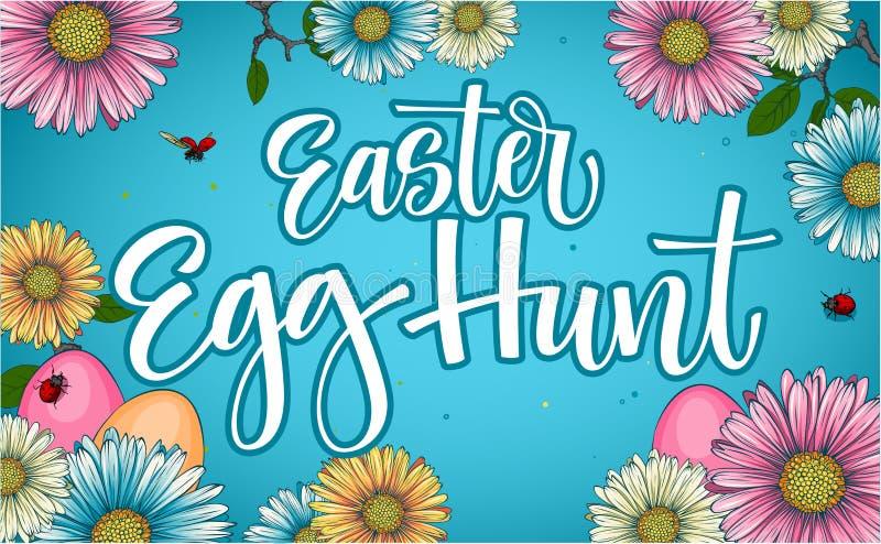 Expression colorée de calligraphie de chasse à oeuf de pâques avec le décor floral et d'oeufs illustration libre de droits