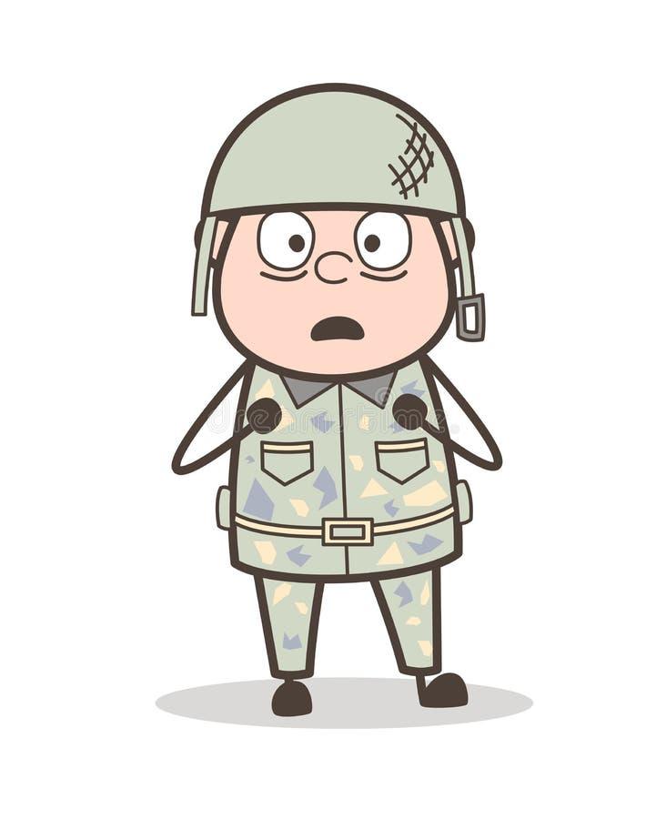 Expression craintive de visage de bande dessinée d'illustration de vecteur d'homme d'armée illustration de vecteur