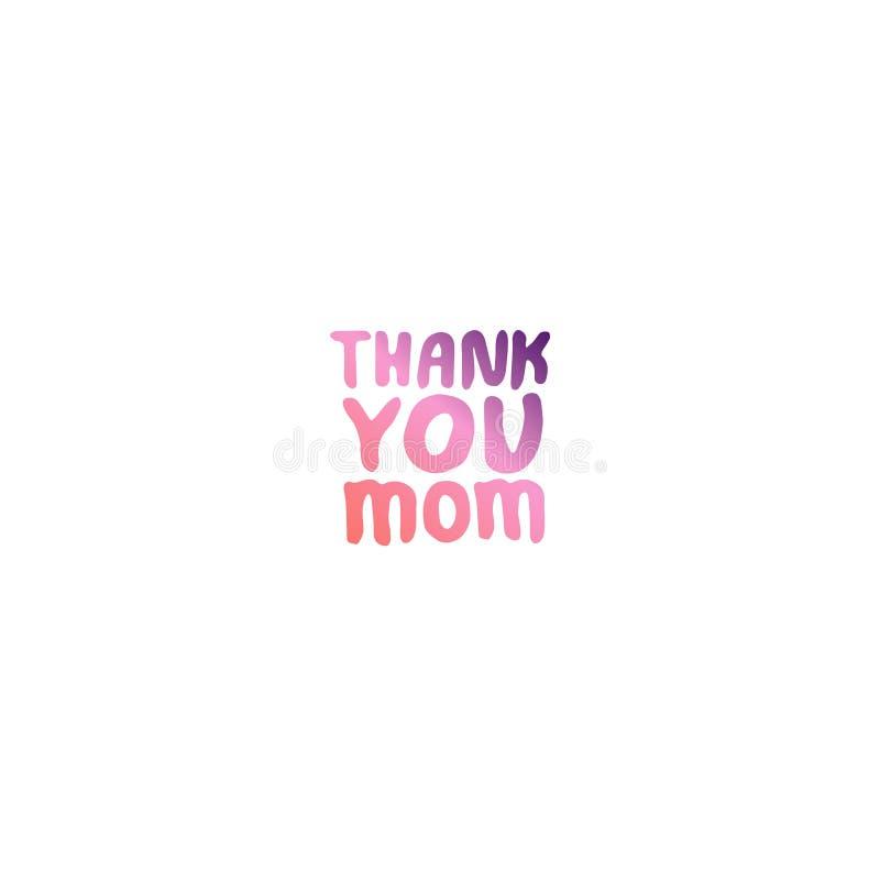 Expression de lettrage de main de jour de mères Merci maman illustration libre de droits