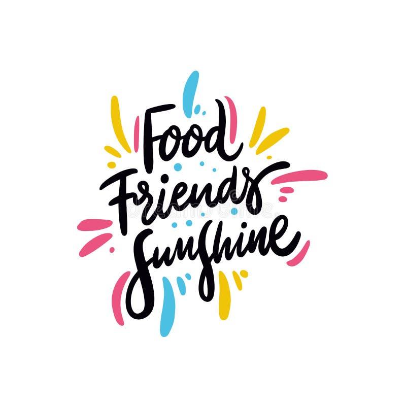 Expression de soleil d'amis de nourriture Vecteur tiré par la main marquant avec des lettres la citation Type de dessin animé D'i illustration libre de droits