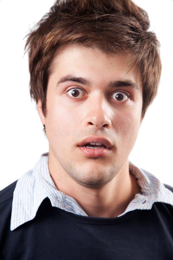 Expression de surprise et de choc sur le visage mâle photos libres de droits