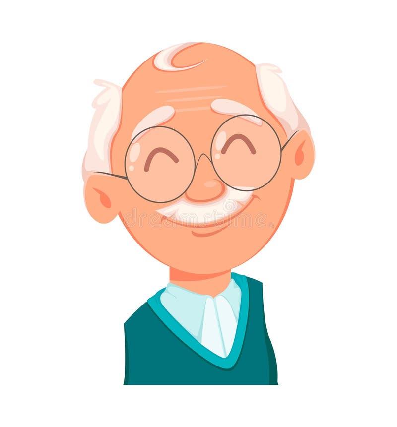 Expression de visage de grand-père, gaie illustration stock