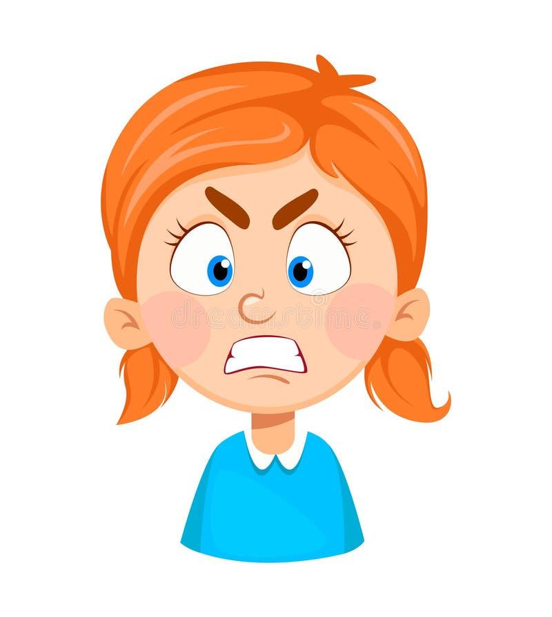 Expression de visage de petite fille mignonne, fâchée illustration libre de droits