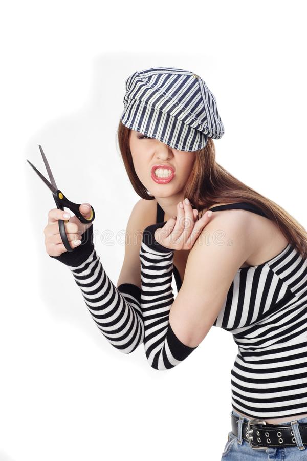 Expression des ciseaux de fixation de femme images stock