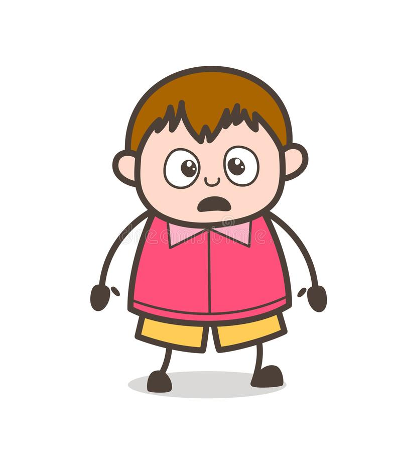 Expression du visage choquée - grosse illustration d'enfant de bande dessinée mignonne illustration stock