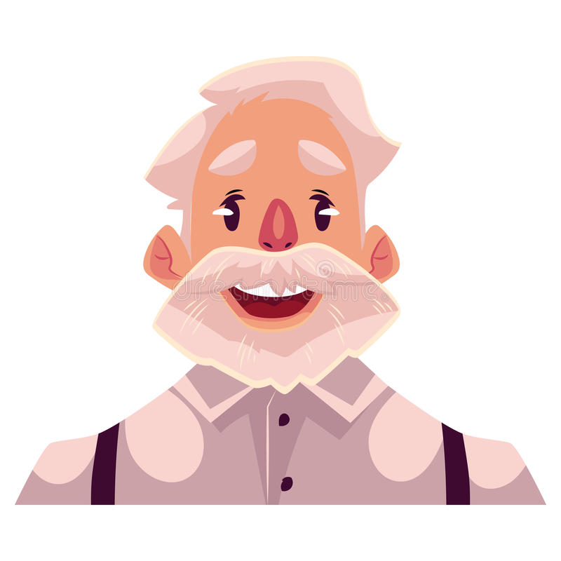 Expression du visage d'une chevelure grise de visage de vieil homme wouah illustration stock