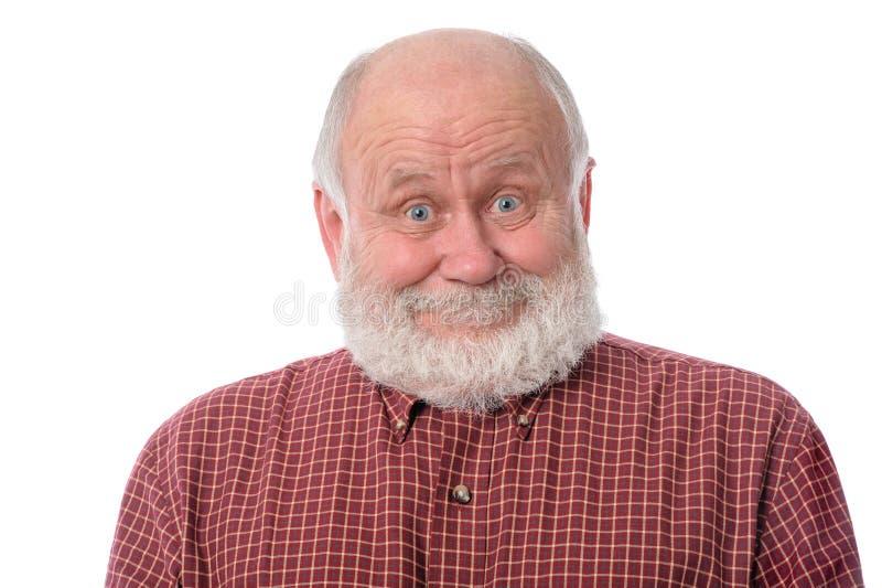 Expression du visage de sourire étonnée par expositions d'homme supérieur, d'isolement sur le blanc photos stock