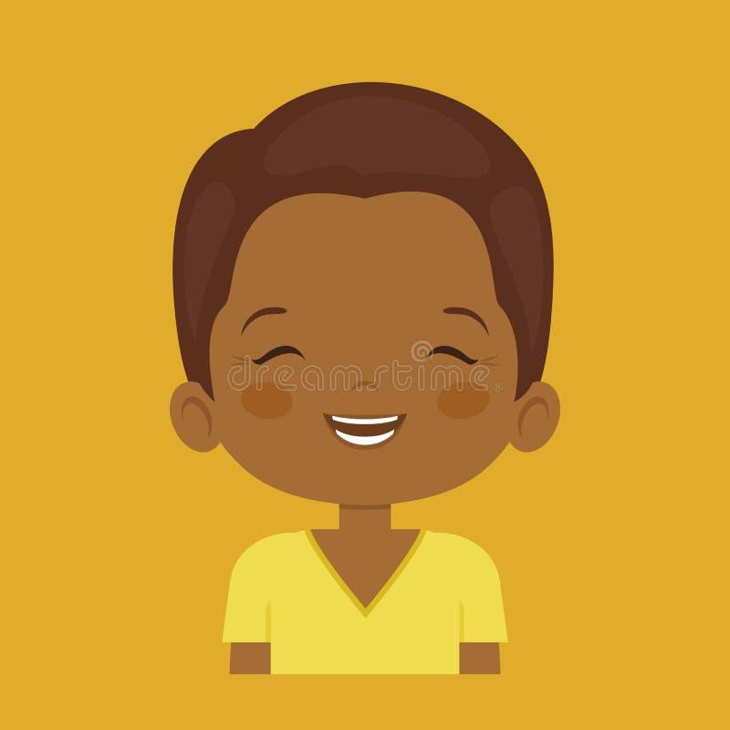 Expression du visage riante foncée de petit garçon de peau illustration libre de droits