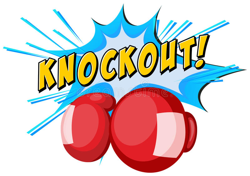 Expression knockout and boxing gloves. Illustration royalty free illustration