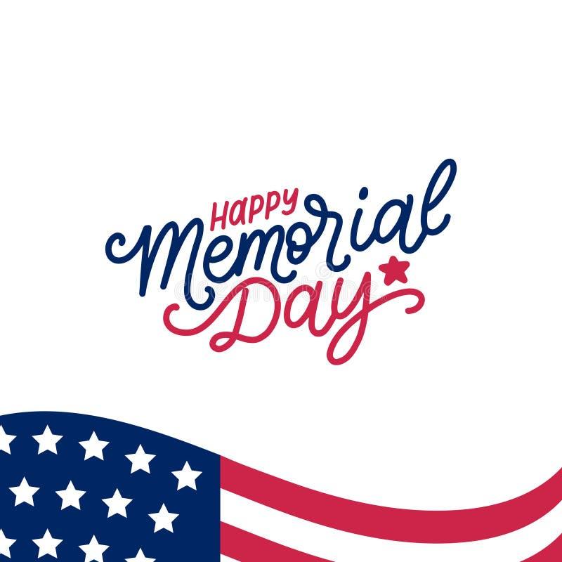 Expression manuscrite heureuse de Memorial Day dans le vecteur Illustration américaine nationale de vacances avec le drapeau des  illustration stock