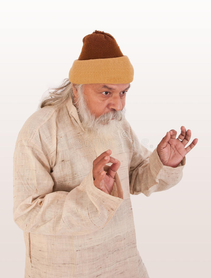 Expression of old indian man stock photos