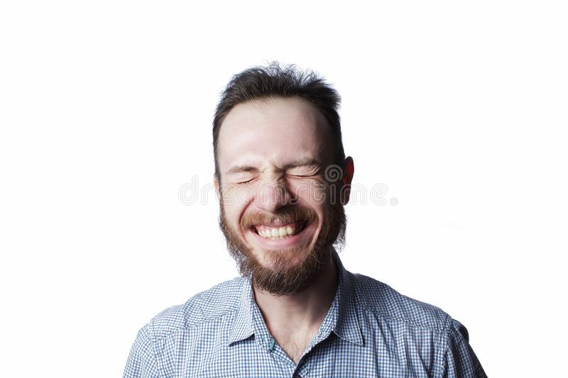 Man`s expression funny face stock images