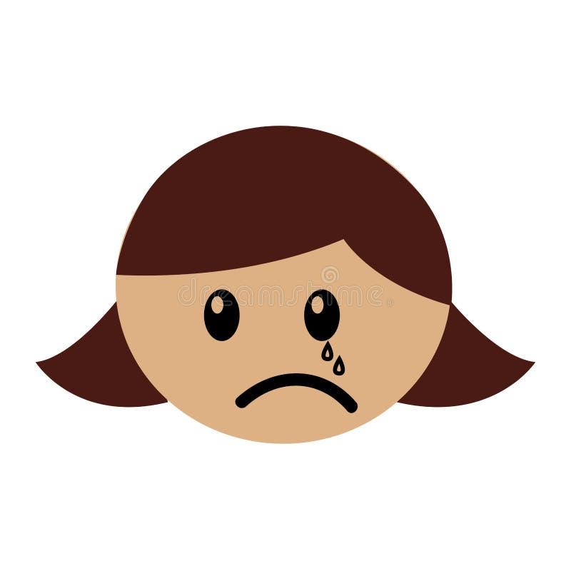 Expression pleurante de fille principale illustration de vecteur