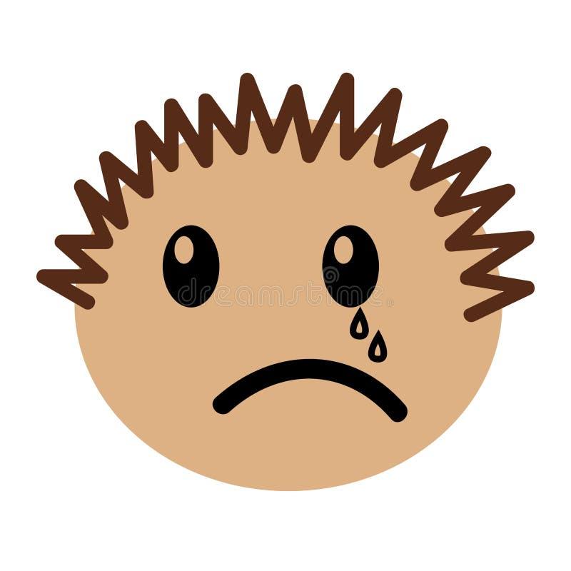 Expression pleurante de garçon principal illustration stock