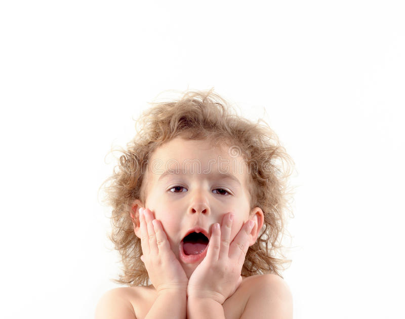The expression of surprised child royalty free stock image
