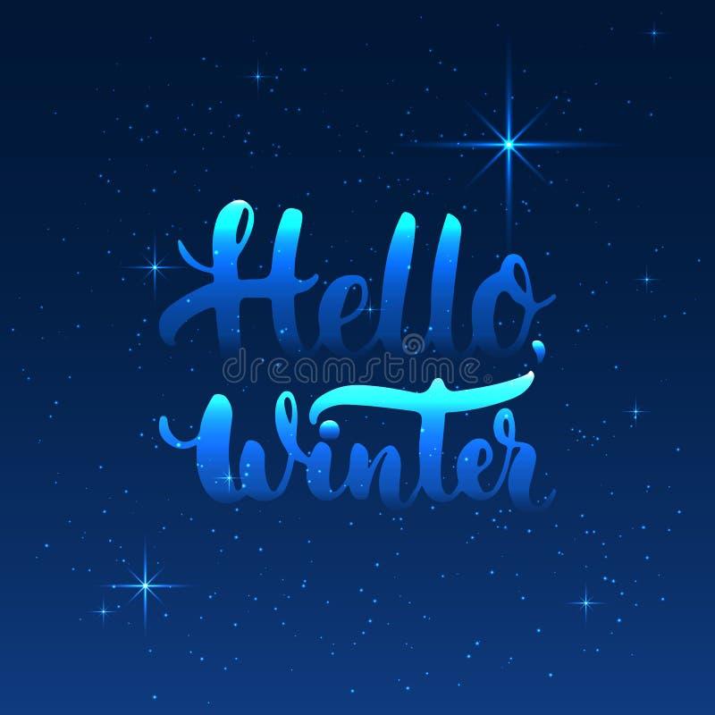 Expression tirée par la main de lettrage de typographie bonjour, hiver d'isolement sur le fond bleu avec des étoiles Encre de bro illustration stock