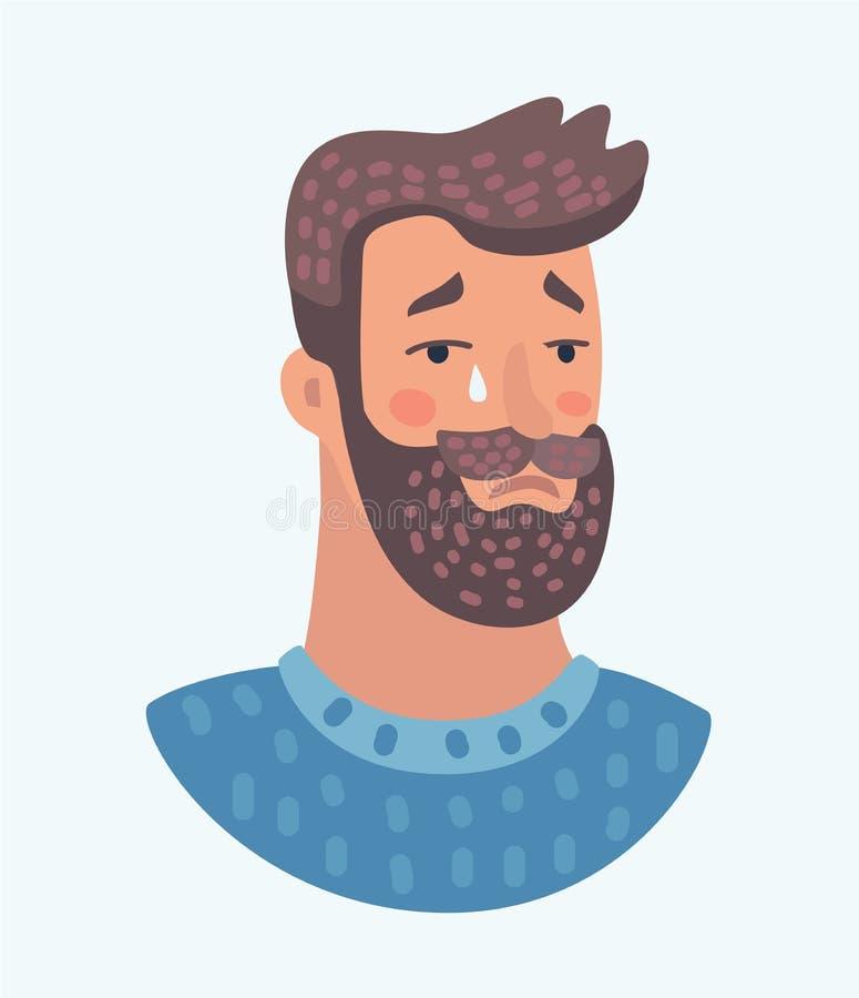 Expression triste de cri d'hommes de barbe illustration stock