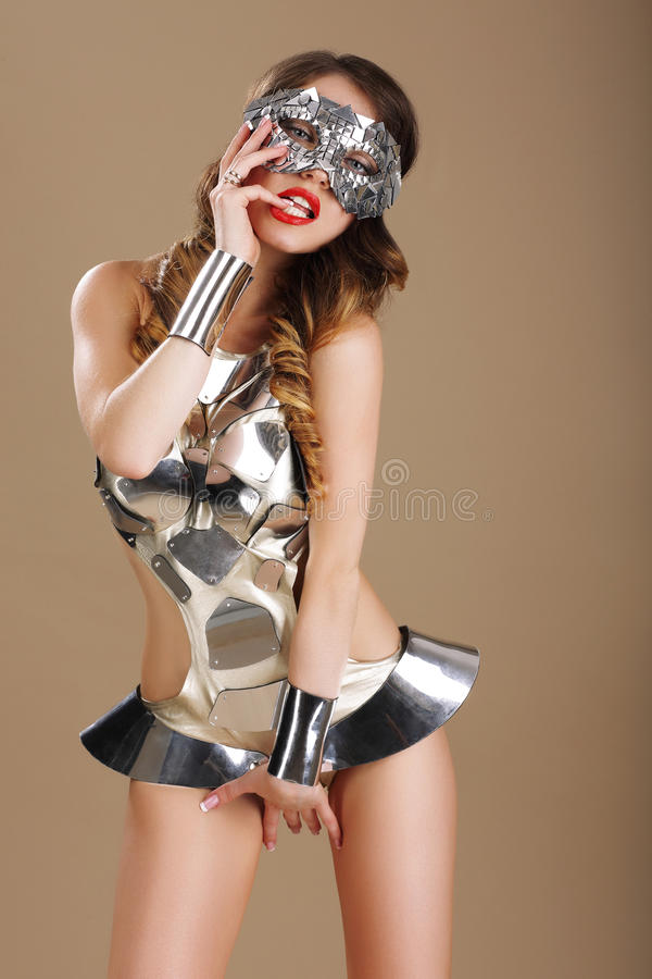 Expression. Voluptuous Woman Teaser in Stagy Costume stock images