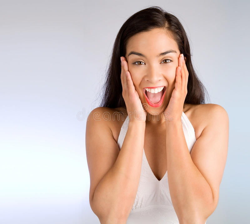 Download Expression Of A Woman Winning Something Big Stock Photo - Image: 10921524