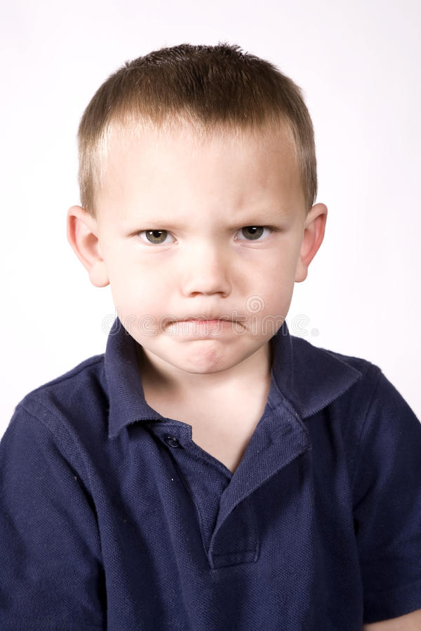 Expression young boy mad stock photos
