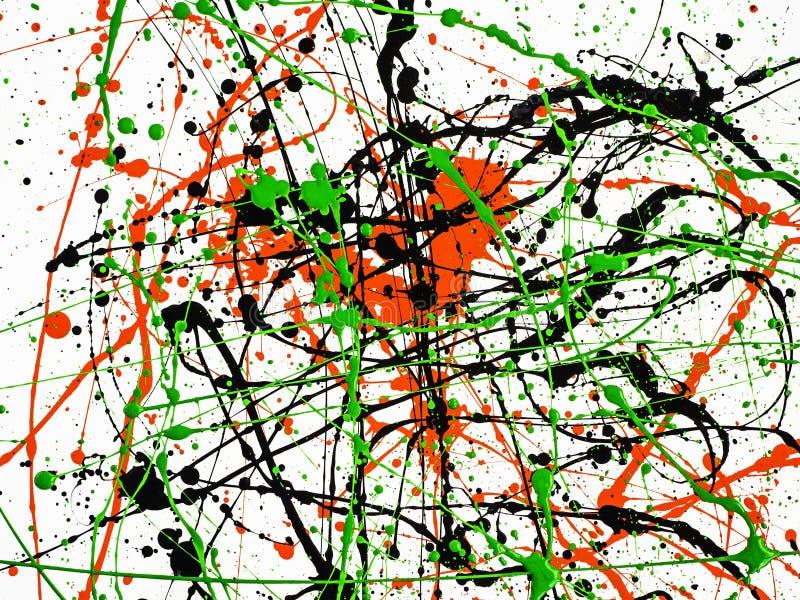 expressionismus Muster rote schwarze grüne Farbe bespritzte mit Linien und Tropfen auf einer weißen Oberfläche Beschneidungspfad  lizenzfreie stockfotografie