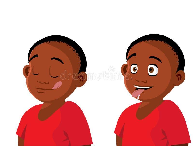Expressions affamées de garçon illustration libre de droits