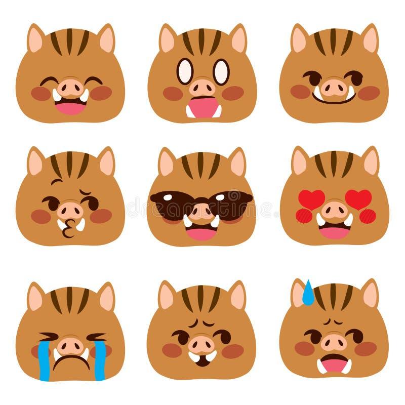 Expressions d'avatar d'Emoji de sanglier illustration libre de droits