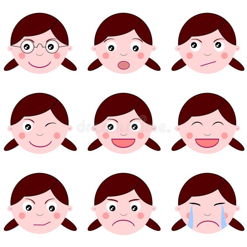 Expressions de fille illustration libre de droits