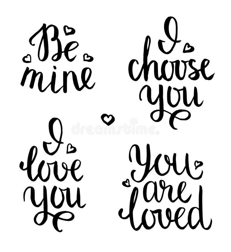 Expressions de lettrage de Valentine illustration libre de droits