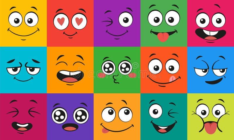 Expressions de visage de bande dessin?e Les visages étonnés heureux, caractères de griffonnage disent du bout des lèvres et ensem illustration de vecteur