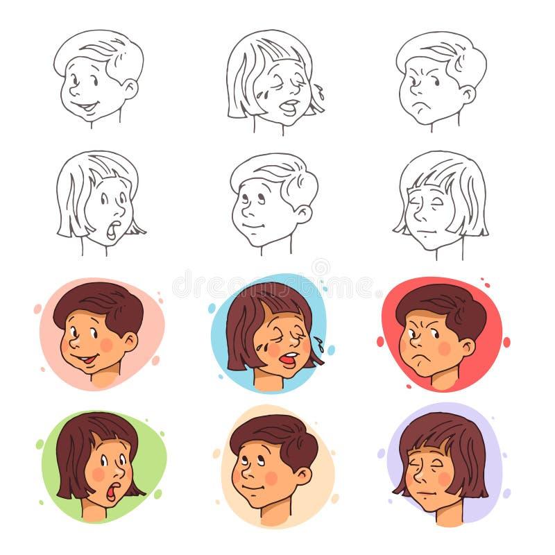 Expressions de visage d'enfants dans la course et le style plat Illustration de vecteur illustration stock