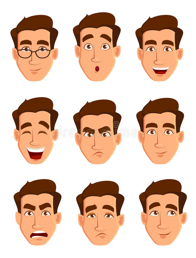 Expressions de visage d'un homme Différentes émotions masculines réglées illustration stock