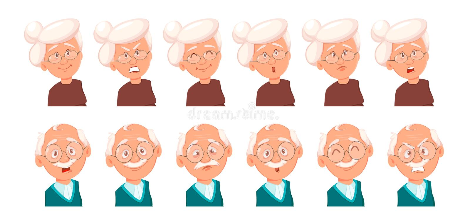 Expressions de visage de grand-père et de grand-mère illustration stock