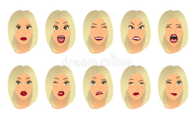 Expressions du visage de femmes, gestes, joie de surprise de crainte de déception d'enchantement de tristesse de dégoût de surpri illustration stock
