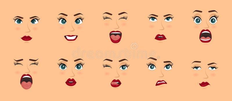 Expressions du visage de femmes, gestes, joie de surprise de crainte de déception d'enchantement de tristesse de dégoût de surpri illustration libre de droits