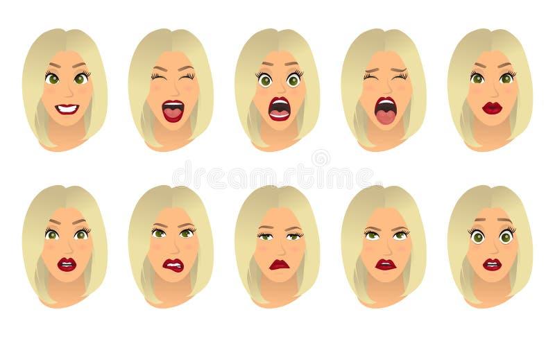 Expressions du visage de femmes, gestes, joie de surprise de crainte de déception d'enchantement de tristesse de dégoût de surpri illustration de vecteur