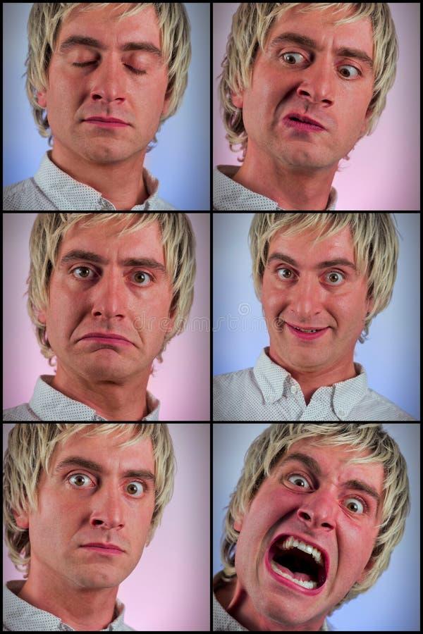 Expressions du visage idiotes photographie stock libre de droits