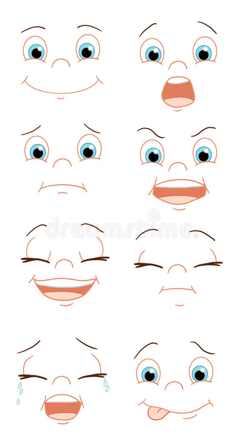 Expressions of the face. Color digital illustration of different expressions of the face vector illustration