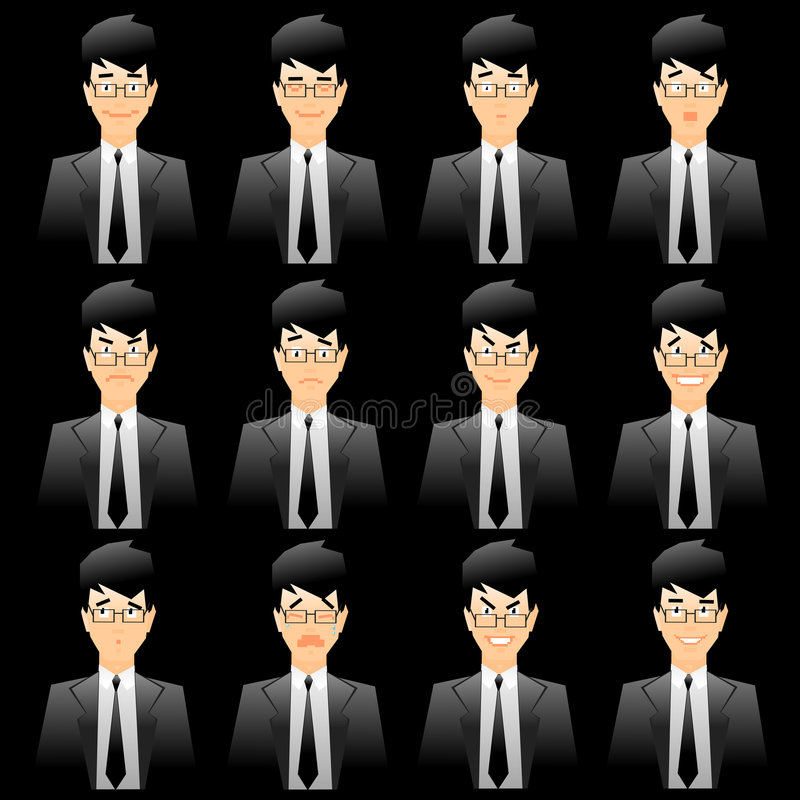 Expressions faciales d'homme d'affaires illustration de vecteur